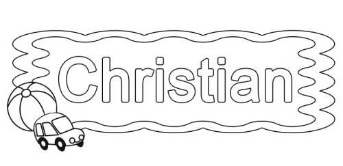 Kostenlose Malvorlage Beliebte Jungennamen: Christian zum Ausmalen