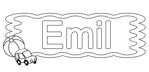 Kostenlose Malvorlage Beliebte Jungennamen: Emil zum Ausmalen