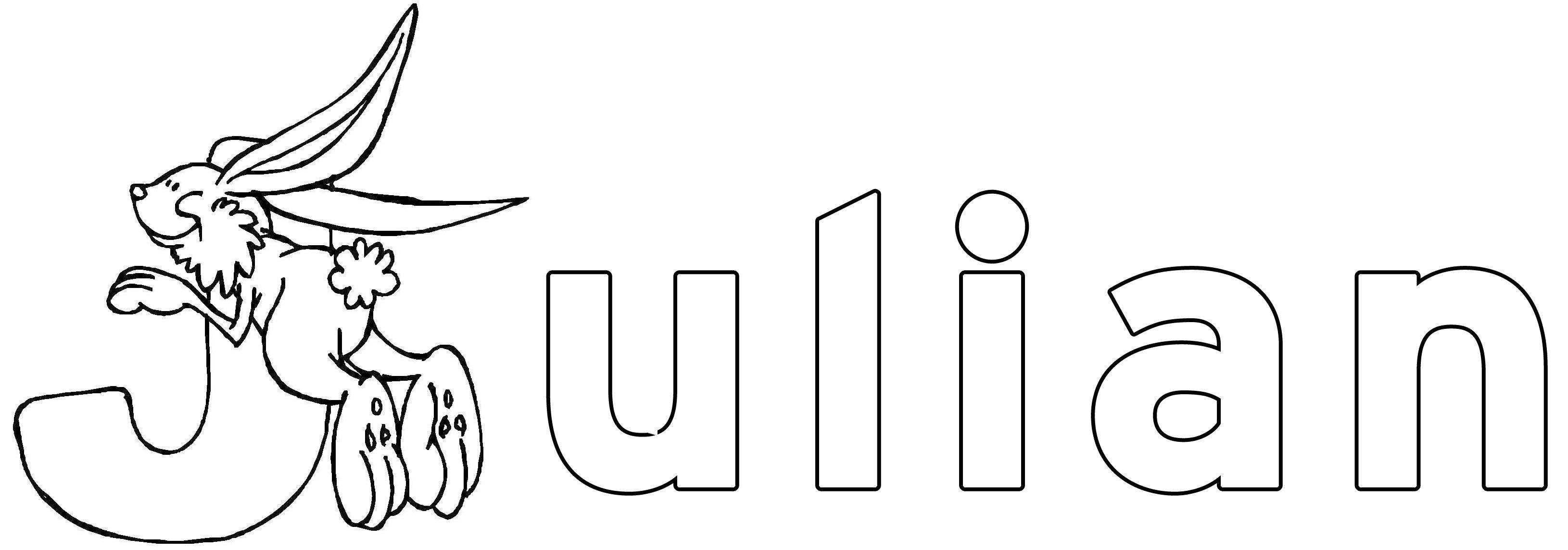 ausmalbild beliebte jungennamen julian kostenlos ausdrucken