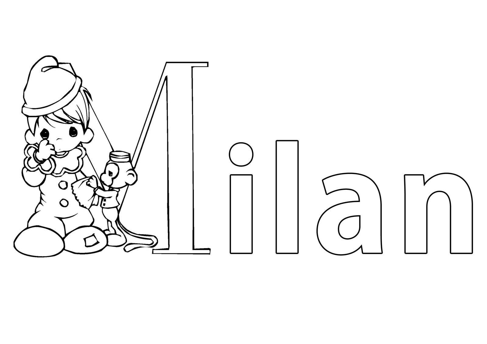 Ausmalbild Beliebte Jungennamen: Vorname Milan ausmalen kostenlos