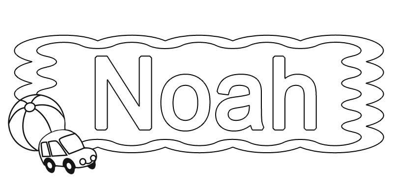 Ausmalbild Beliebte Jungennamen Vorname Noah Ausmalen Kostenlos