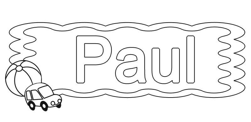 ausmalbild beliebte jungennamen paul kostenlos ausdrucken