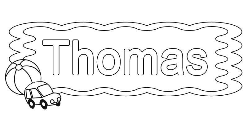 Ausmalbild Beliebte Jungennamen: Vorname Thomas ausmalen kostenlos ausdrucken