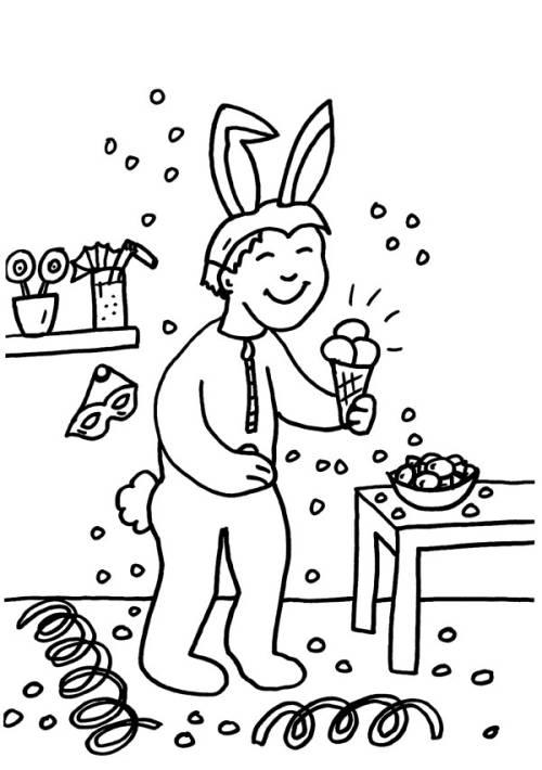 kostenlose malvorlage karneval fasching fastnacht junge im kaninchen kost m zum ausmalen. Black Bedroom Furniture Sets. Home Design Ideas