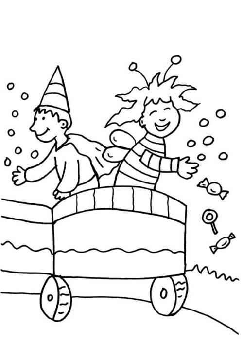 kostenlose malvorlage karneval fasching fastnacht kinder auf dem karnevalswagen zum ausmalen. Black Bedroom Furniture Sets. Home Design Ideas