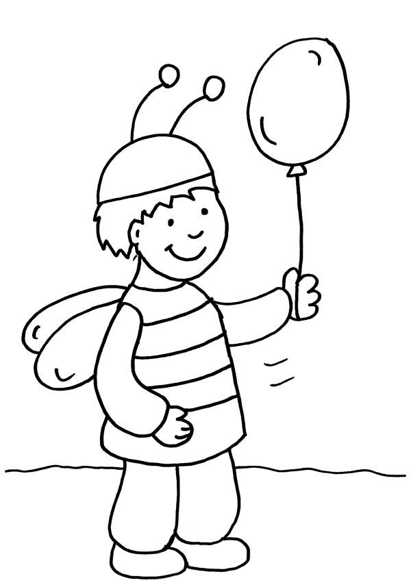 Kostenlose Malvorlage Karneval Fasching Fastnacht Junge Im Bienen Kostum Zum Ausmalen