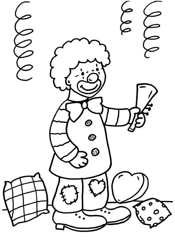 Kostenlose Malvorlage Karneval, Fasching, Fastnacht: Junge im Clown ...