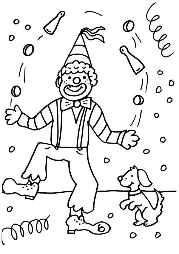 Ausmalbild Karneval Fasching Fastnacht Jonglierender Clown