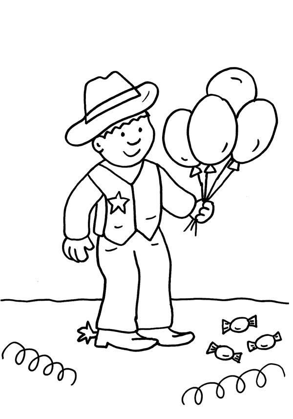 Ausmalbild Karneval, Fasching, Fastnacht: Junge im Cowboy-Kostüm ...