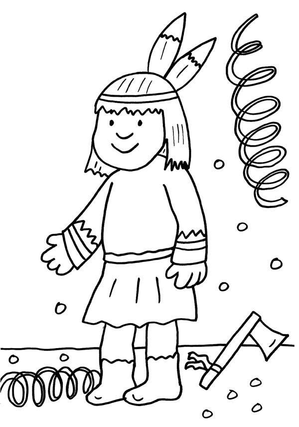 Ausmalbild Karneval Fasching Fastnacht Kind Im Indianer Kostüm