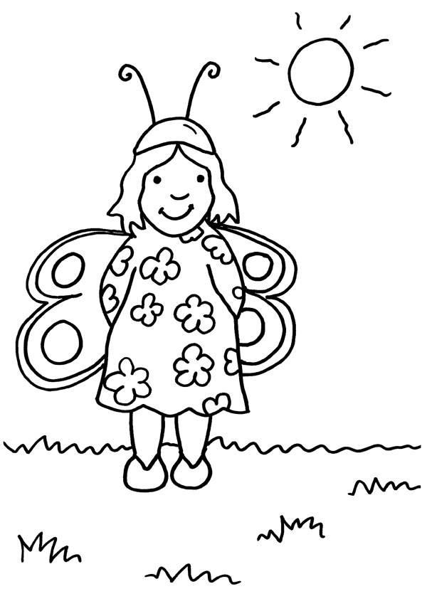 Ausmalbild Karneval, Fasching, Fastnacht: Mädchen im Schmetterlings ...