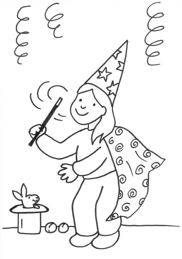 Ausmalbild Karneval, Fasching, Fastnacht: Mädchen im Zauberinnen ...