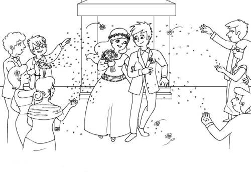 Kostenlose Malvorlage Hochzeit Und Liebe Hochzeitspaar Ausmalen Zum