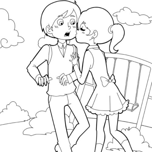 Kostenlose Malvorlage Hochzeit Und Liebe Mädchen Küsst
