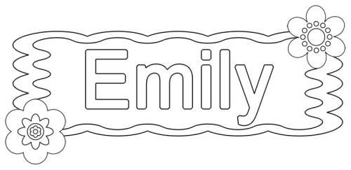 Kostenlose Malvorlage Beliebte Madchennamen Emily Zum Ausmalen