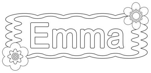 kostenlose malvorlage beliebte mädchennamen emma zum ausmalen