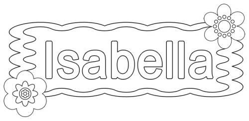 kostenlose malvorlage beliebte mädchennamen isabella zum