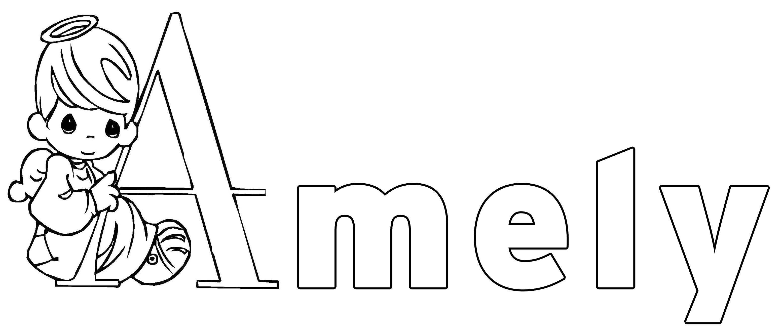 Ausmalbild Beliebte Mädchennamen: Amely kostenlos ausdrucken