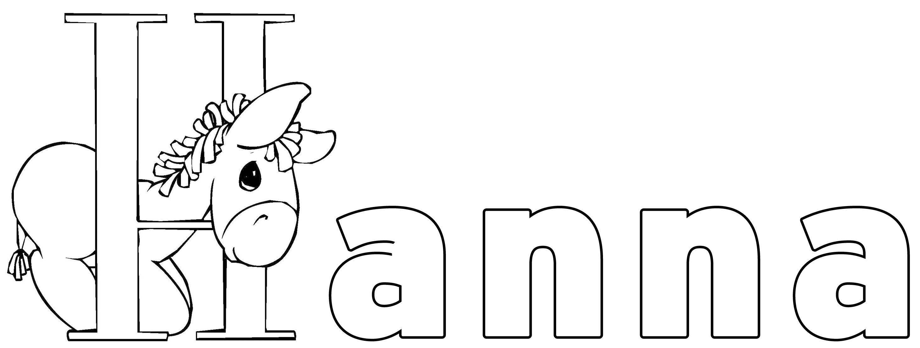 Ausmalbild Beliebte Mädchennamen: Hanna kostenlos ausdrucken