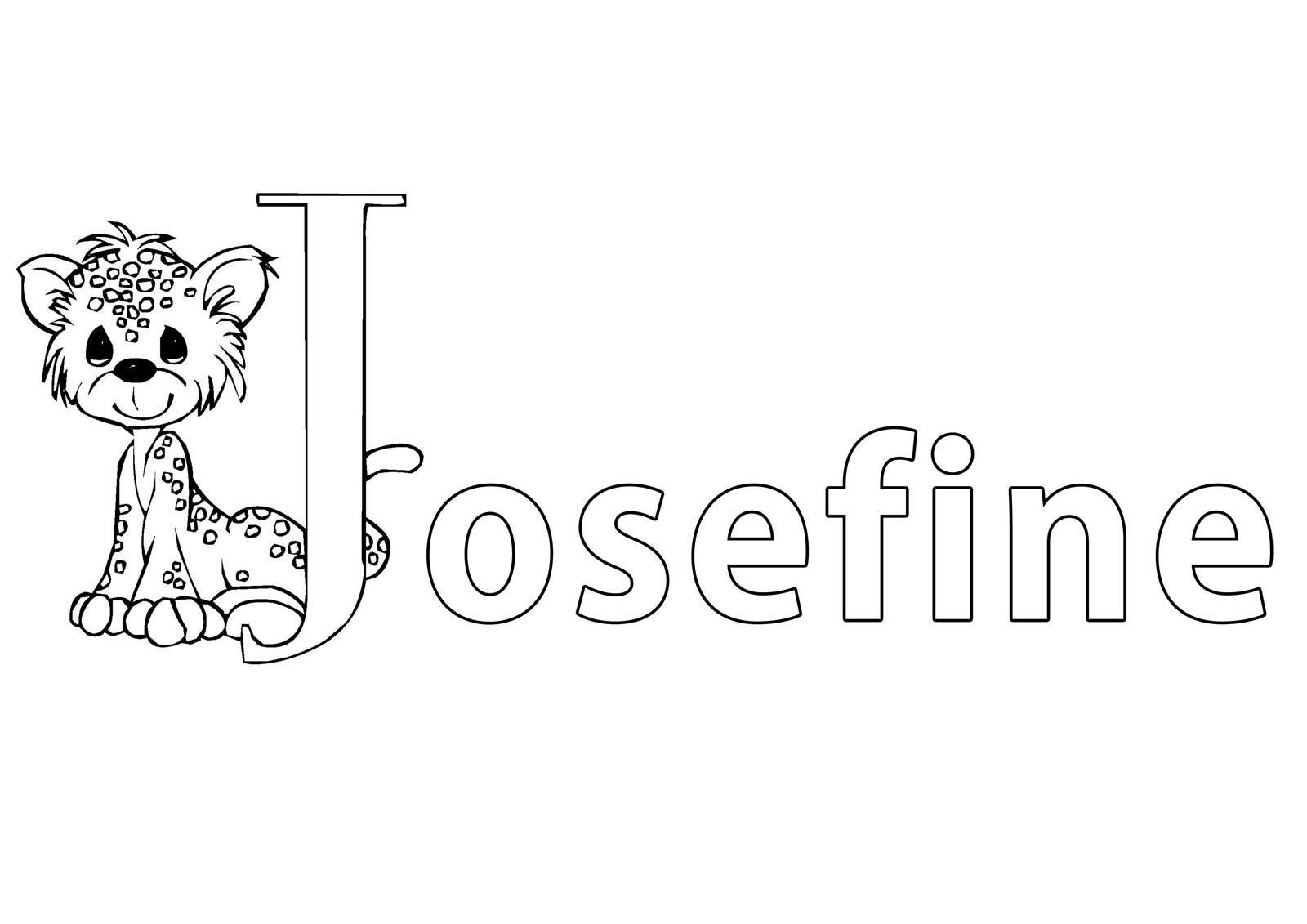 Ausmalbild Beliebte Mädchennamen: Vorname Josefine ausmalen ...