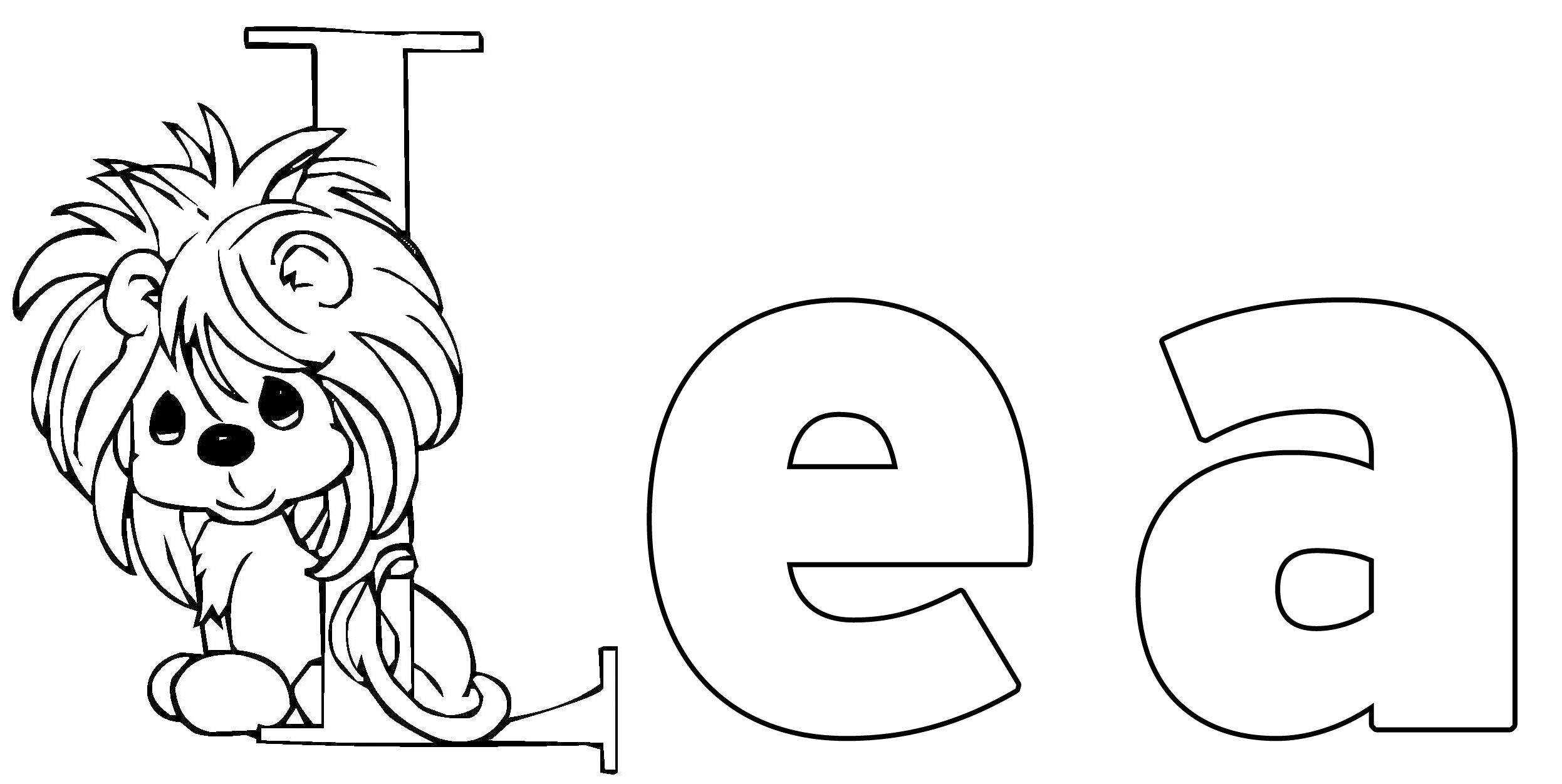 Ausmalbild Beliebte Mädchennamen: Lea kostenlos ausdrucken
