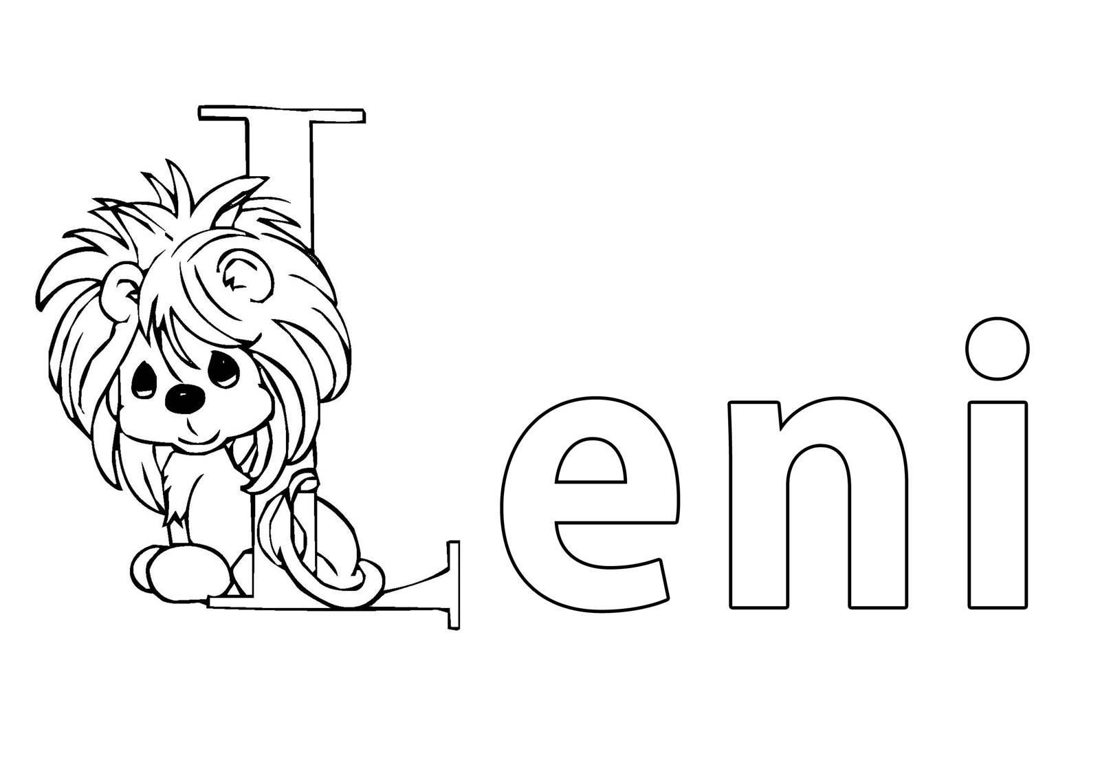 Ausmalbild Beliebte Mädchennamen: Vorname Leni ausmalen kostenlos ...