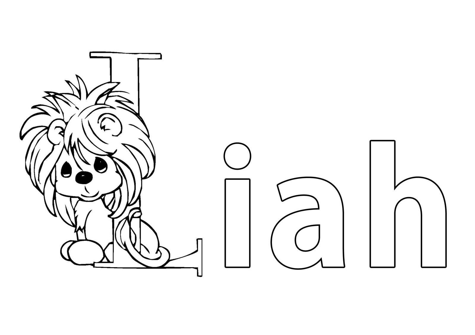 Ausmalbild Beliebte Mädchennamen: Vorname Liah ausmalen kostenlos ...
