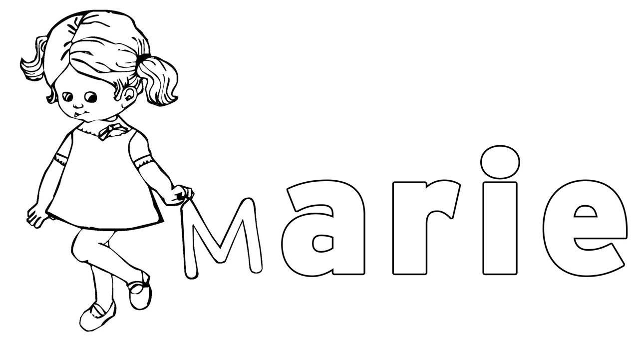 Ausmalbild Beliebte Mädchennamen: Marie kostenlos ausdrucken