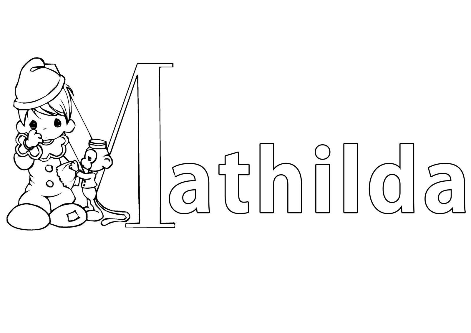 Ausmalbild Beliebte Mädchennamen: Vorname Mathilda ausmalen ...