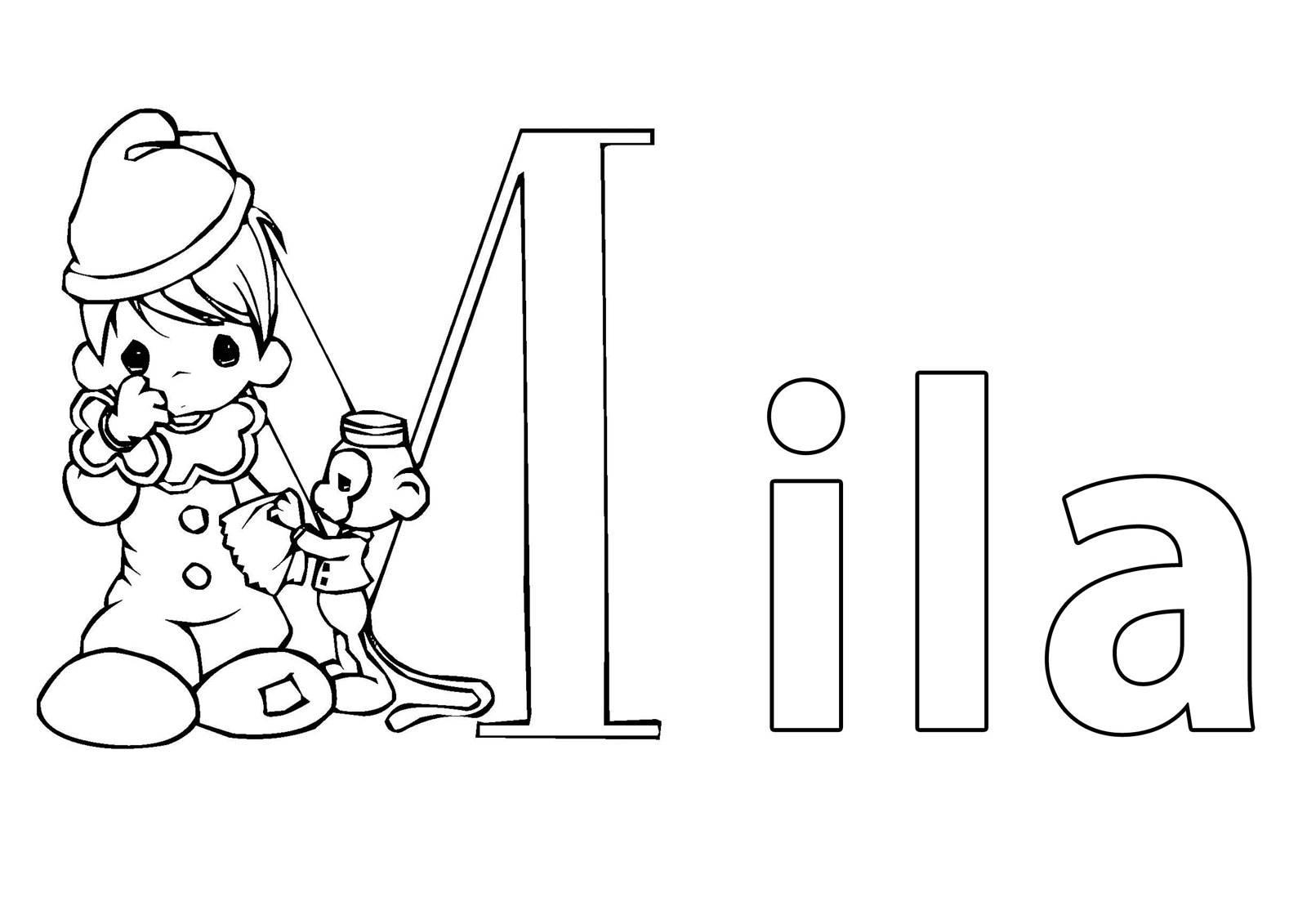 Ausmalbild Beliebte Mädchennamen: Vorname Mila ausmalen kostenlos ...