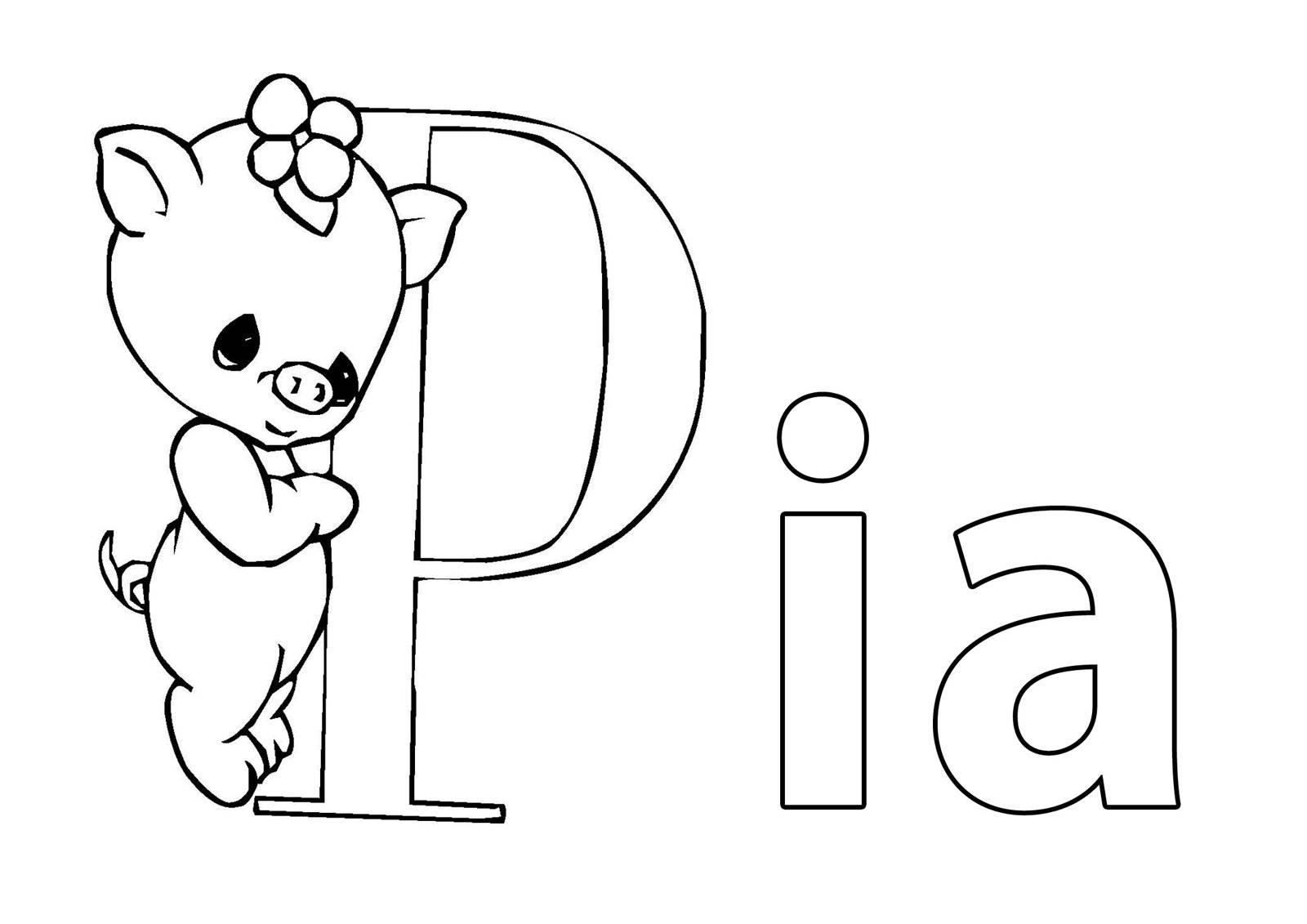 Ausmalbild Beliebte Mädchennamen: Vorname Pia ausmalen kostenlos ...