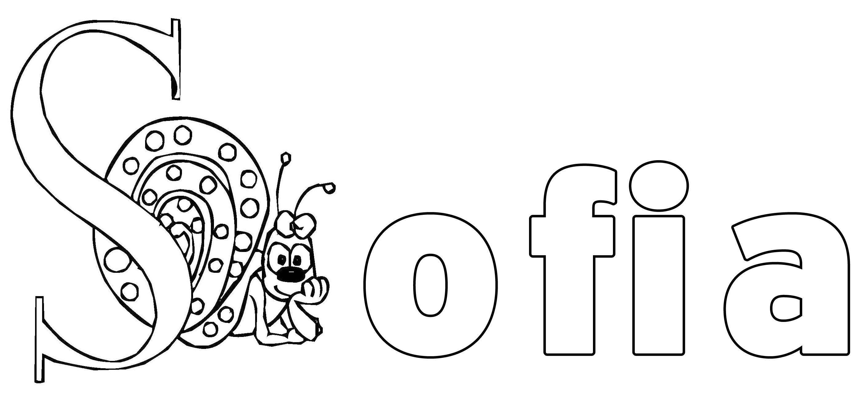 kostenlose malvorlage beliebte mädchennamen sofia zum