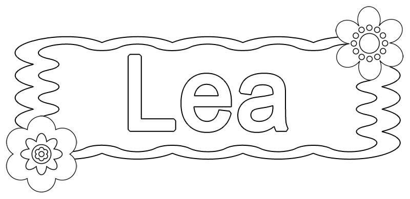 Ausmalbild Beliebte Mädchennamen Lea Kostenlos Ausdrucken