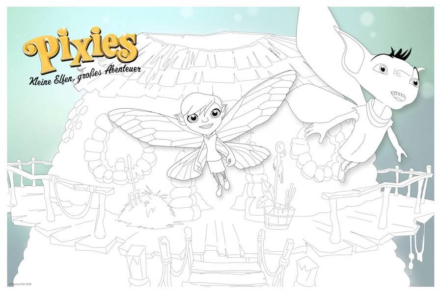 kostenlose malvorlage märchen pixies  kleine elfen