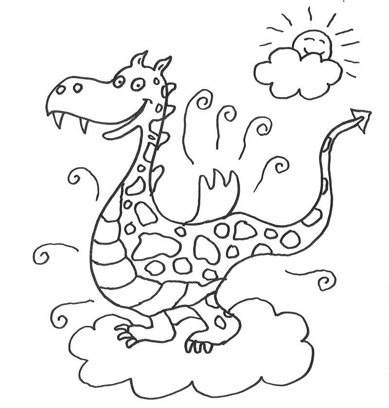 Ausmalbild Märchen: Drache auf einer Wolke kostenlos ausdrucken