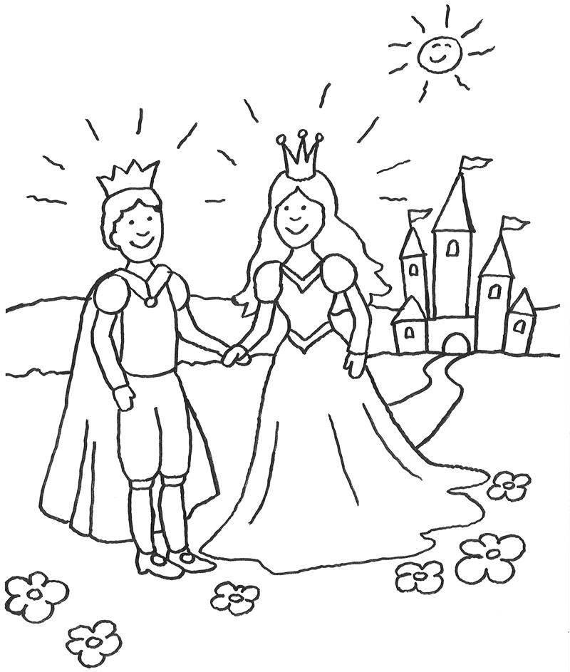 Ausmalbild Prinzessin: Prinzessin mit Prinz vor ihrem Märchen