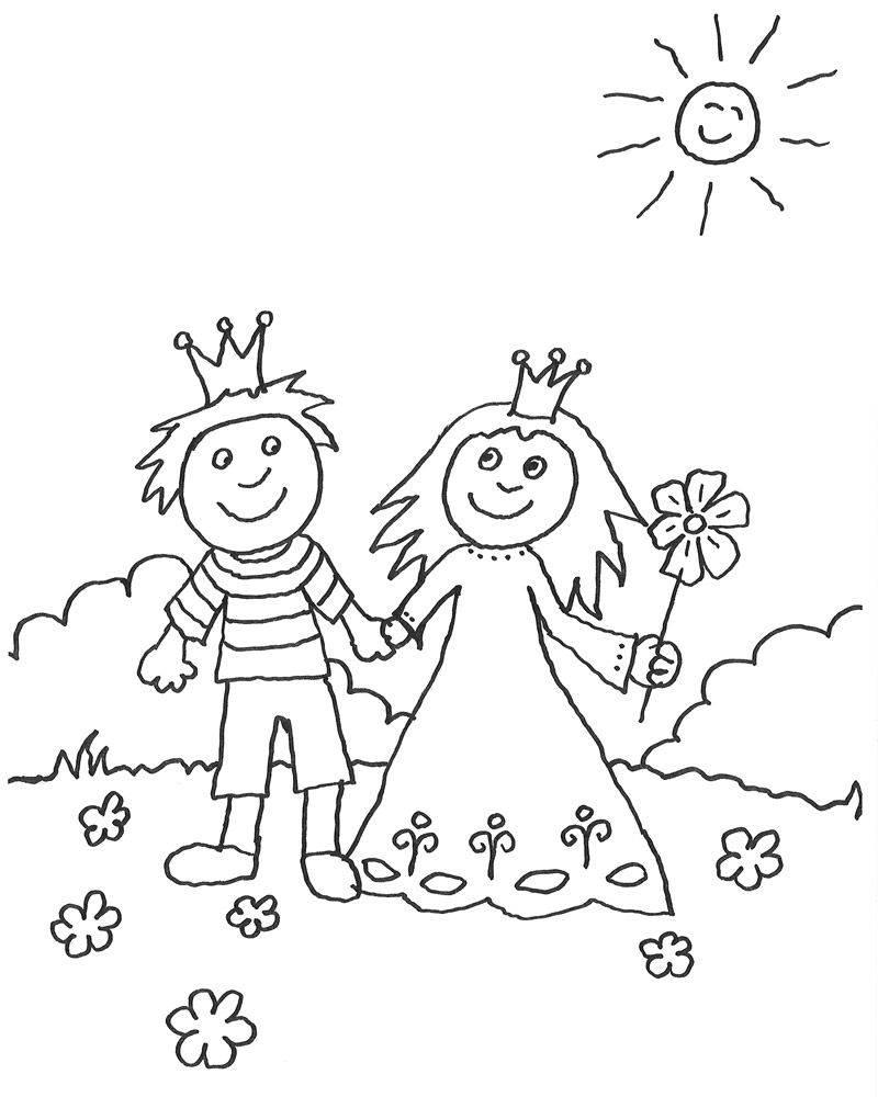 Ausmalbild Prinzessin: Prinz und Prinzessin sind verliebt kostenlos ...