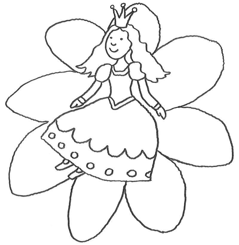 Ausmalbild Märchen: Prinzessin auf Blume kostenlos ausdrucken