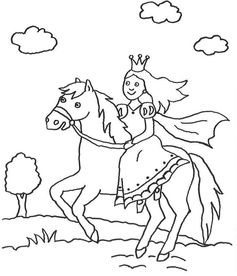 Kostenlose Malvorlage Prinzessin: Prinzessin auf Pferd zum Ausmalen