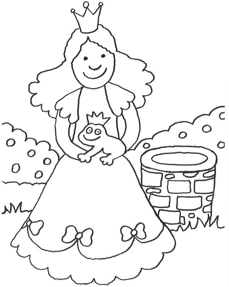 Kostenlose Malvorlage Märchen: Prinzessin mit Frosch in der Hand