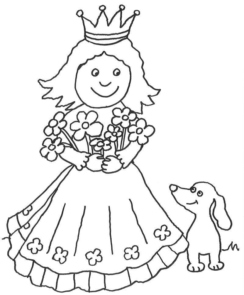 Ausmalbild Märchen: Prinzessin mit Hund kostenlos ausdrucken