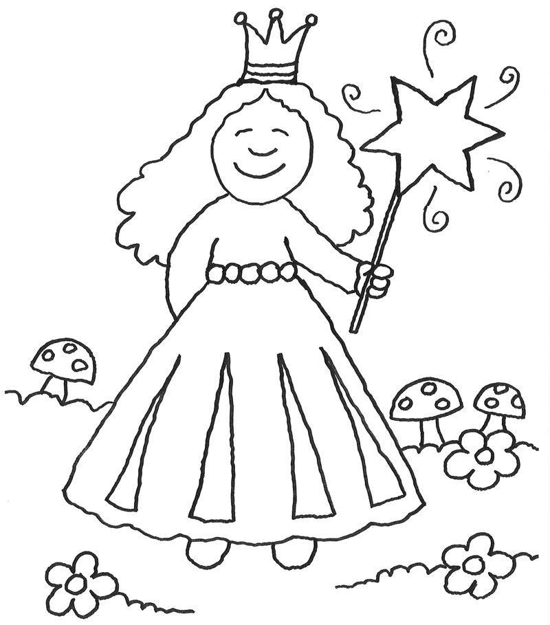Ausmalbild Prinzessin: Prinzessin zaubert kostenlos ausdrucken