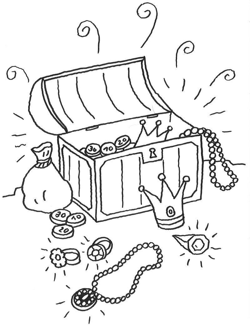 Ausmalbild Märchen: Schatzkiste kostenlos ausdrucken