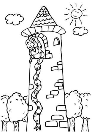 kostenlose malvorlage märchen: rapunzel zum ausmalen zum ausmalen