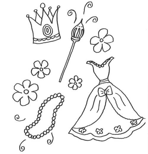 Kostenlose Malvorlage Prinzessin: Kleidung und Schmuck einer ...