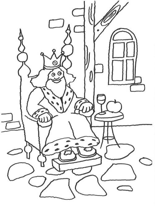 Kostenlose Malvorlage Märchen König Auf Dem Thron Zum Ausmalen