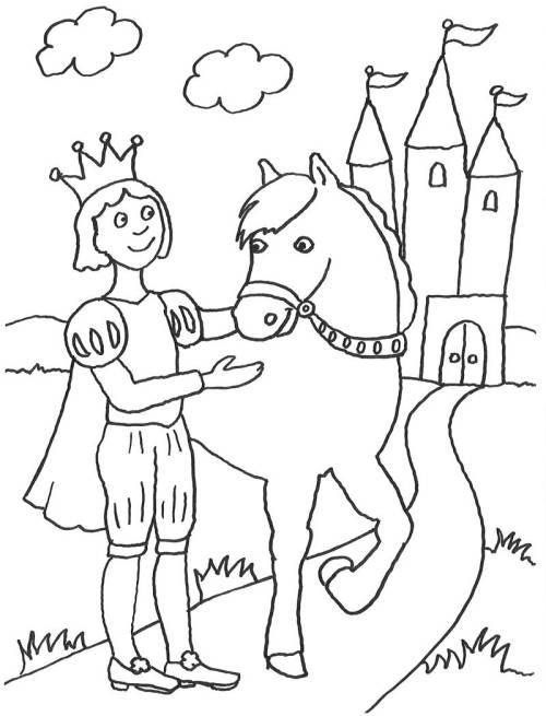 kostenlose malvorlage märchen: prinz und sein pferd zum