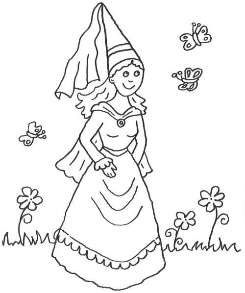 Kostenlose Malvorlage Prinzessin: Prinzessin auf Frühlingswiese