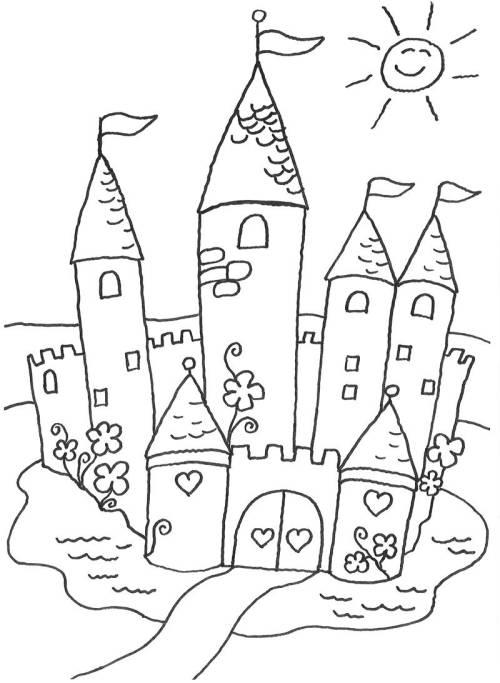 Kostenlose Malvorlage Prinzessin: Märchenschloss zum Ausmalen