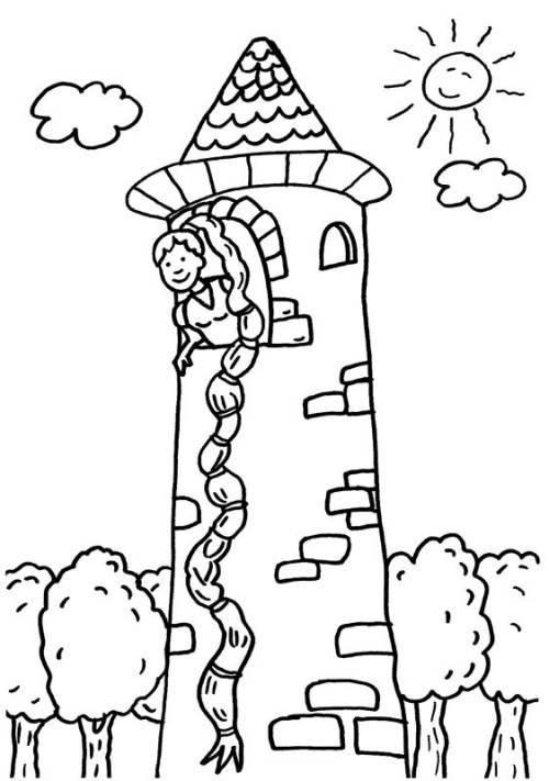 Kostenlose Malvorlage Märchen Rapunzel Zum Ausmalen Zum Ausmalen
